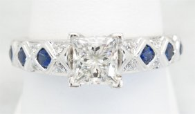 1.22ctw Diamond And Sapphire Ring - 14kt White Gold