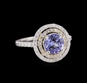 1.75ct Tanzanite And Diamond Ring - 14kt Two-tone Gold