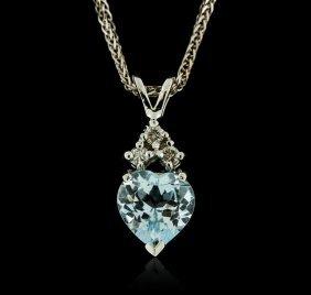 14kt White Gold 0.50ct Aquamarine And Diamond Pendant