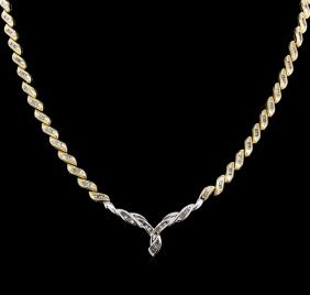 14kt White And Yellow Gold 8.84ctw Diamond Necklace