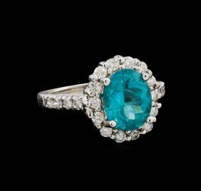2.98ct Apatite And Diamond Ring - 14kt White Gold