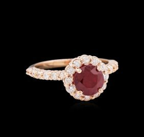 2.02ct Ruby And Diamond Ring - 14kt Rose Gold
