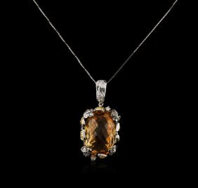 18kt White Gold 18.12ct Citrine And Diamond Pendant