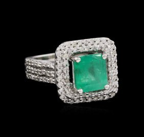 1.48ct Emerald And Diamond Ring - 14kt White Gold