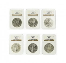 1993-1998 Ngc Ms69 American Silver Eagle Coin Set Of 6