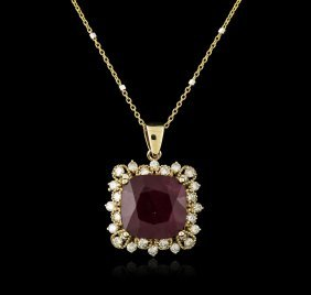 14kt Yellow Gold 9.97ct Ruby And Diamond Pendant With
