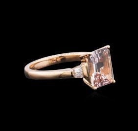 14kt Rose Gold 1.86ct Morganite And Diamond Ring