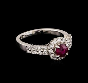 0.68ct Ruby And Diamond Ring - 14kt White Gold