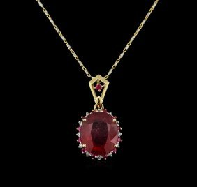 6.98ctw Ruby And Diamond Pendant With Chain - 14kt