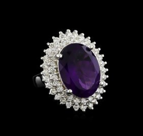 7.73ct Amethyst And Diamond Ring - 14kt White Gold