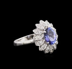 1.76ct Tanzanite And Diamond Ring - 14kt White Gold