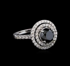 3.36ctw Black Diamond Ring - 14kt White Gold