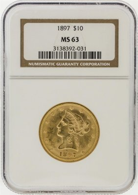 1897 Ngc Ms63 $10 Liberty Head Eagle Gold Coin