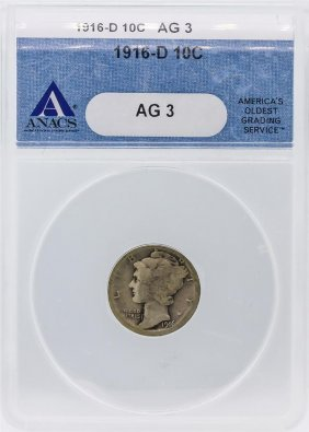 1916-d Anacs Ag3 Mercury Dime