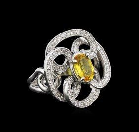 1.15ct Yellow Sapphire And Diamond Ring - 14kt White