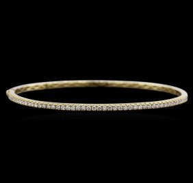 0.78ctw Diamond Bangle Bracelet - 14kt Yellow Gold