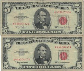 1963 $5 Red Seal Bill Lot Of 2