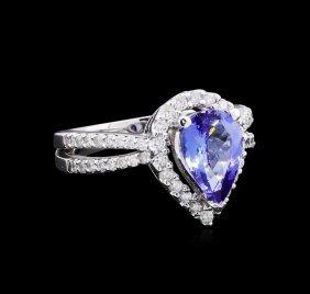 1.97ct Tanzanite And Diamond Ring - 14kt White Gold