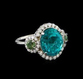 6.90ct Paraiba Tourmaline, Sapphire And Diamond Ring -