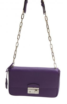 Prada Purple Saffiano Leather Shoulder Bag
