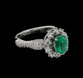 1.35ct Emerald And Diamond Ring - 18kt White Gold
