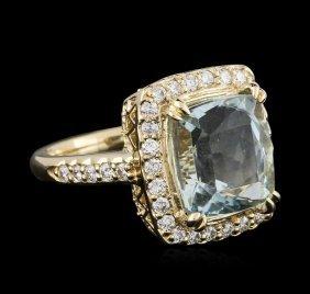 14kt Yellow Gold 4.99ct Aquamarine And Diamond Ring
