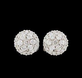 0.51ctw Diamond Earrings - 14kt White Gold