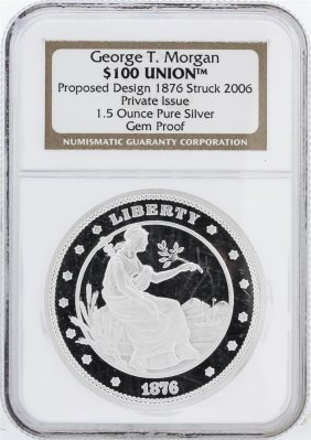 Ngc Gem Proof 1.5 Oz Pure Silver Round - $100 Union