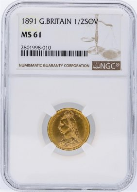 1891 Ngc Ms61 Great Britain 1/2 Sovereign Gold Coin