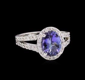 1.66ct Tanzanite And Diamond Ring - 14kt White Gold