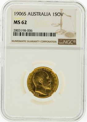 1906-s Ngc Ms62 Australia 1 Sovereign Gold Coin