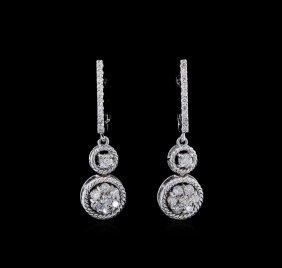 0.67ctw Diamond Earrings - 14kt White Gold
