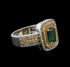 14kt Two-tone Gold 0.84ct Emerald And Diamond Ring