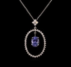 2.69ct Tanzanite And Diamond Pendant With Chain - 14kt