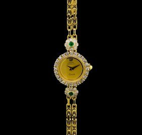 Girard Perregaux 18kt Gold Diamond And Emerald Ladies