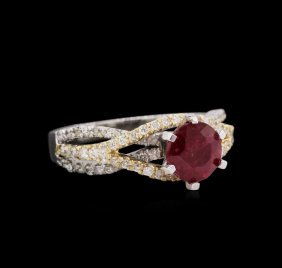 1.73ct Ruby And Diamond Ring - 14kt Two-tone Gold