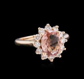 1.72ct Pink Tourmaline And Diamond Ring - 14kt Rose