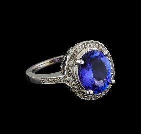 3.65ct Tanzanite And Diamond Ring - 14kt White Gold