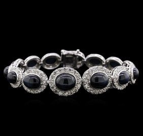 39.31ctw Star Sapphire And Diamond Bracelet - 14kt