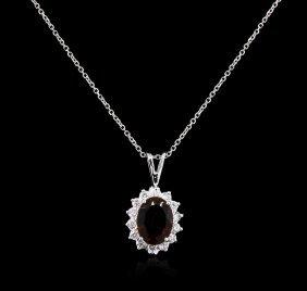 2.53ct Green Tourmaline And Diamond Pendant With Chain