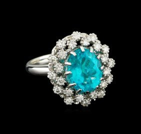4.08ct Apatite And Diamond Ring - 14kt White Gold