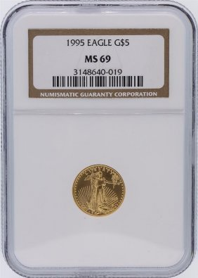 1995 Ngc Graded Ms69 $5 American Eagle 1/10 Oz Gold