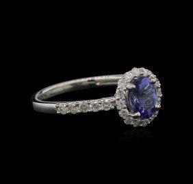 0.80ct Tanzanite And Diamond Ring -14kt White Gold