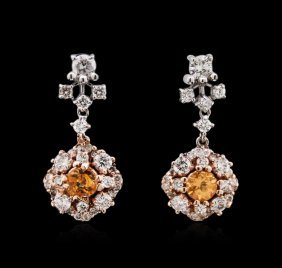 0.45ctw Orange Sapphire And Diamond Earrings - 14kt