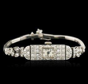 Platinum 0.72ctw Diamond Vintage Ladies Watch