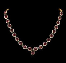 47.00ctw Ruby And Diamond Necklace - 14kt Yellow Gold