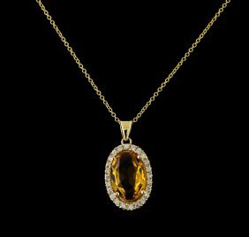 4.08ct Citrine And Diamond Pendant With Chain - 14kt