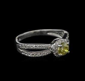 0.72ctw Yellow Diamond Ring - 14kt White Gold