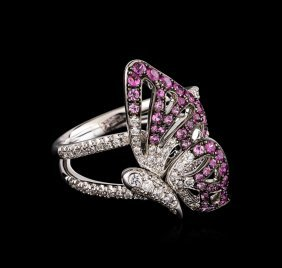 0.87ctw Pink Sapphire And Diamond Butterfly Ring - 18kt