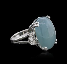 14kt White Gold 7.60ct Aquamarine And Diamond Ring